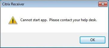 Citrix Receiver Cannot Start App