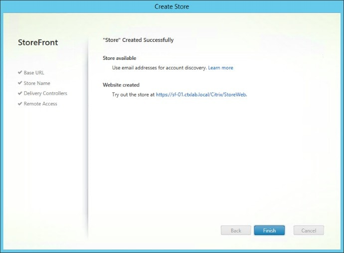 Create New X1 StoreFront Deployment Created Successfully