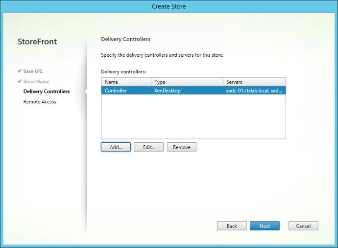 Create New X1 StoreFront Deployment Delivery Controller Overview