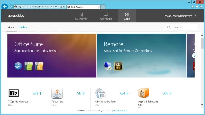 X1 StoreFront Custom Apps and Desktops