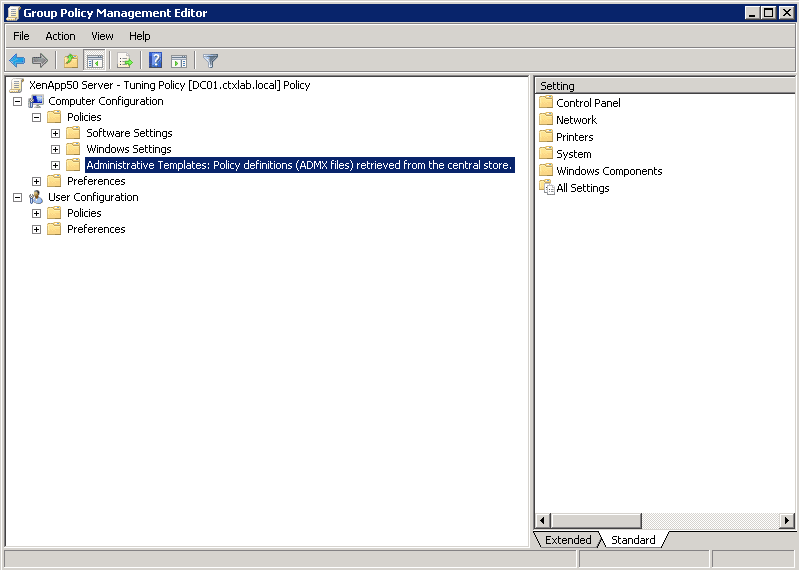 Create a Central Store for Group Policy Administrative Templates