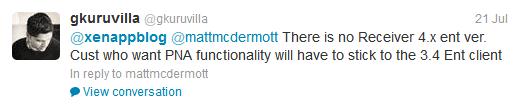 Tweet about Citrix Receiver 4