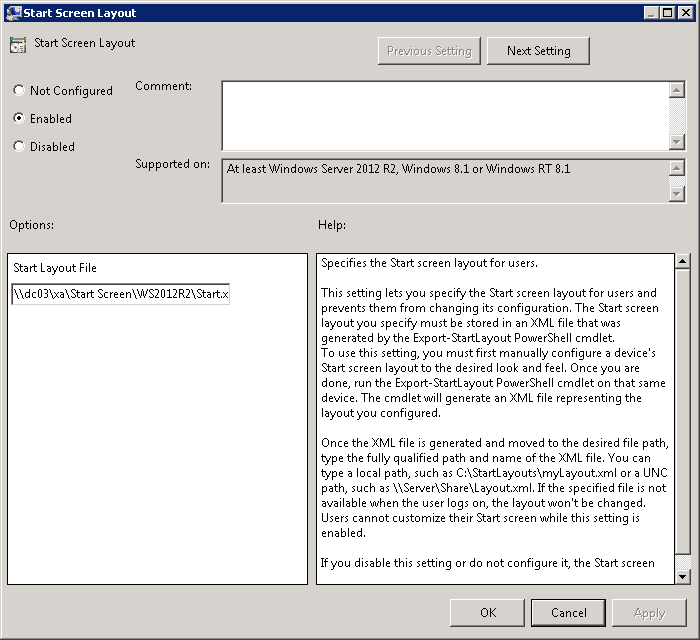Customize Windows 2012 Start Screen Using Group Policy 03