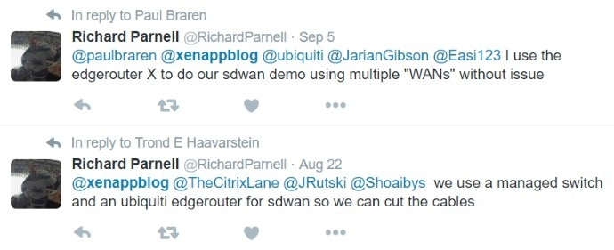 Richard Parnell on Twitter about WAN router for failover