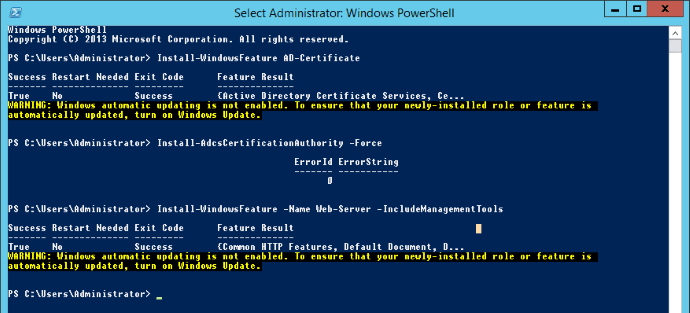 Configure Microsoft CA with Powershell