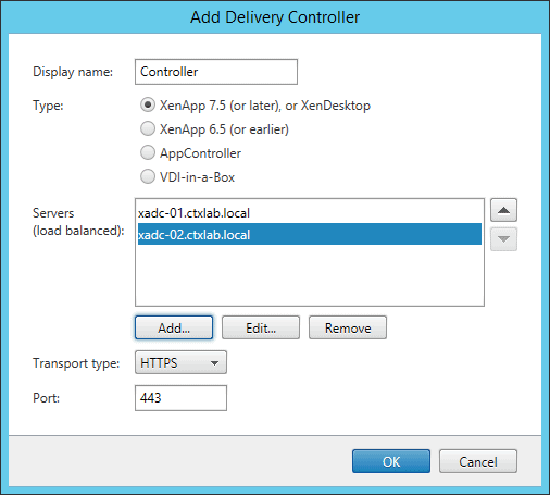 Create New X1 StoreFront Deployment Delivery Controller