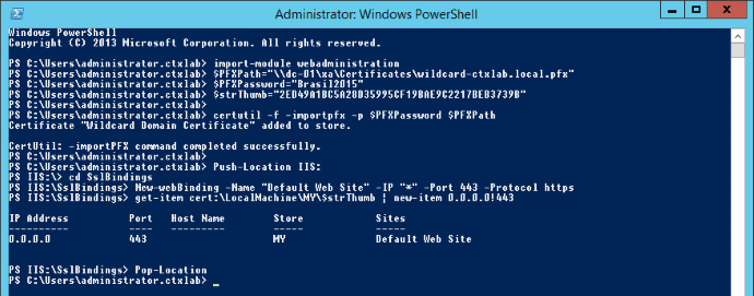 Import and Bind SSL Certificate with Powershell
