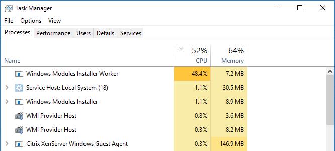 windows modules installer cpu high