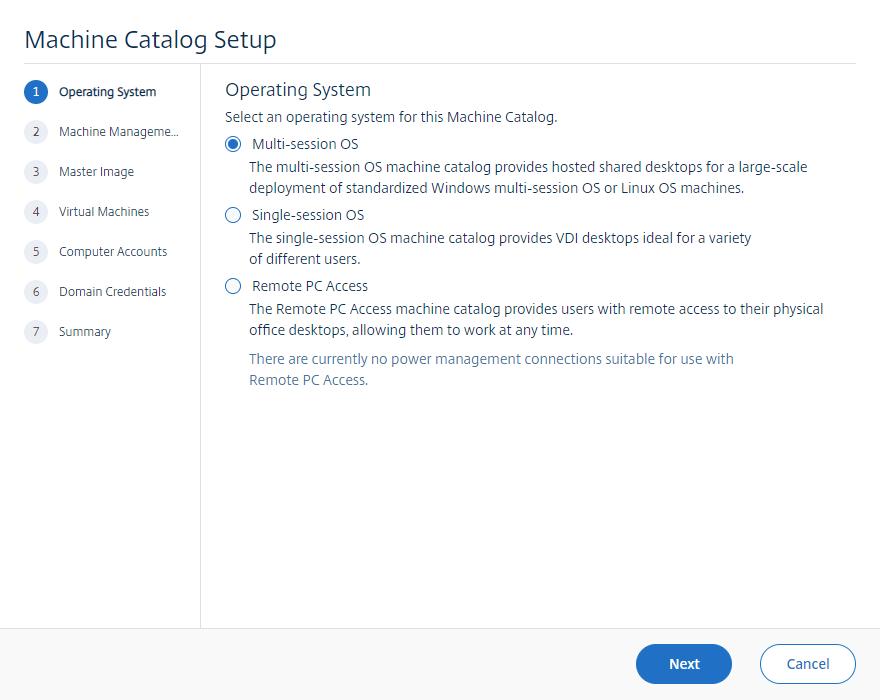 Machine catalog setup for the Automation Framework